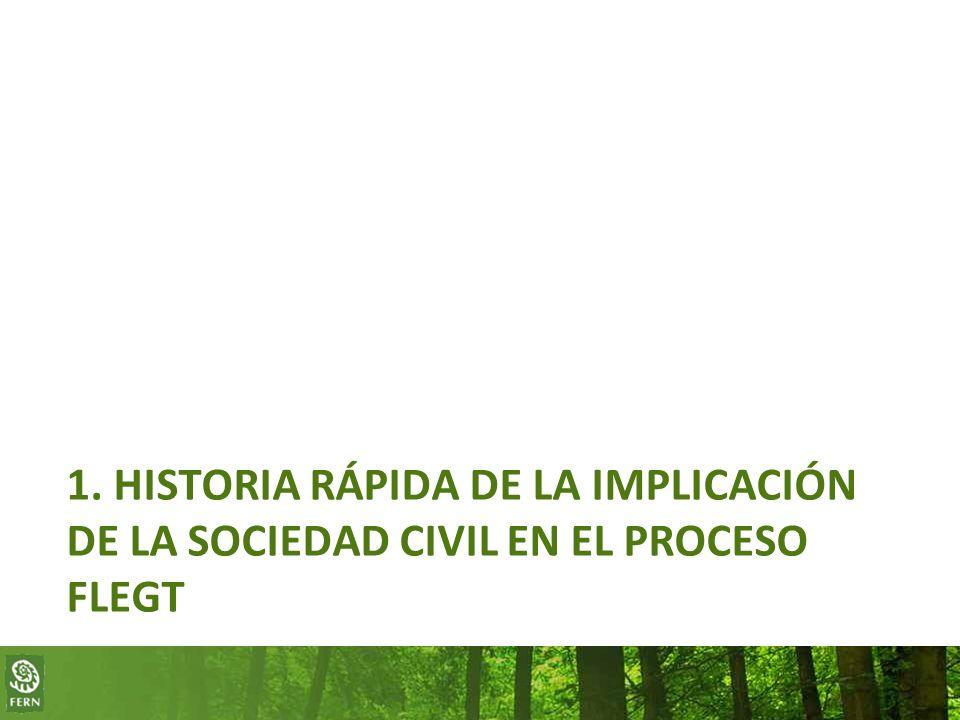 1. HISTORIA RÁPIDA DE LA IMPLICACIÓN DE LA SOCIEDAD CIVIL EN EL PROCESO FLEGT