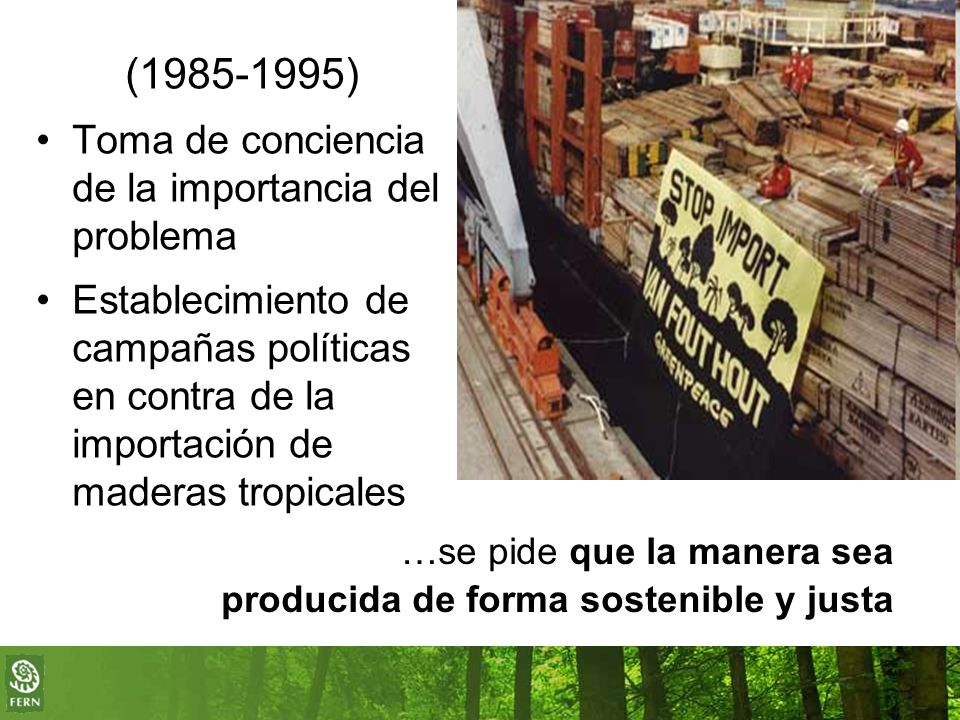 (1985-1995) Toma de conciencia de la importancia del problema Establecimiento de campañas políticas en contra de la importación de maderas tropicales …se pide que la manera sea producida de forma sostenible y justa