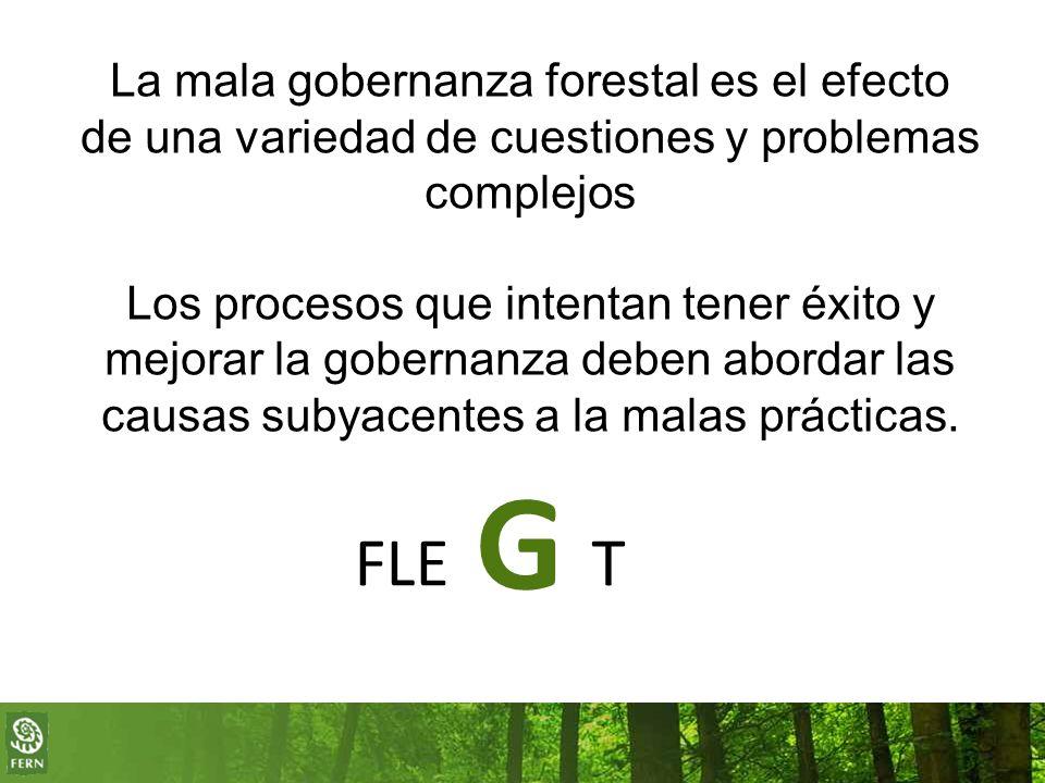 La mala gobernanza forestal es el efecto de una variedad de cuestiones y problemas complejos Los procesos que intentan tener éxito y mejorar la gobernanza deben abordar las causas subyacentes a la malas prácticas.