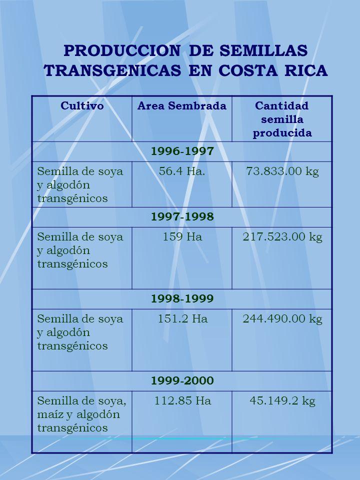 PRODUCCION DE SEMILLAS TRANSGENICAS EN COSTA RICA CultivoArea SembradaCantidad semilla producida 1996-1997 Semilla de soya y algodón transgénicos 56.4