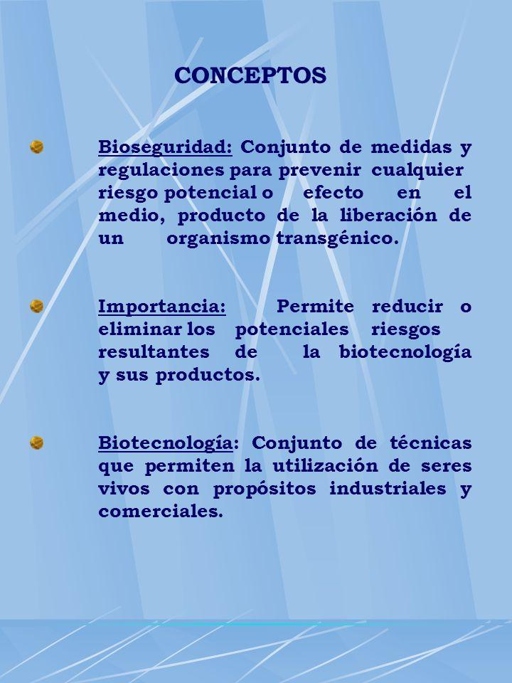 CONCEPTOS Bioseguridad: Conjunto de medidas y regulaciones para prevenir cualquier riesgo potencial o efecto en el medio, producto de la liberación de