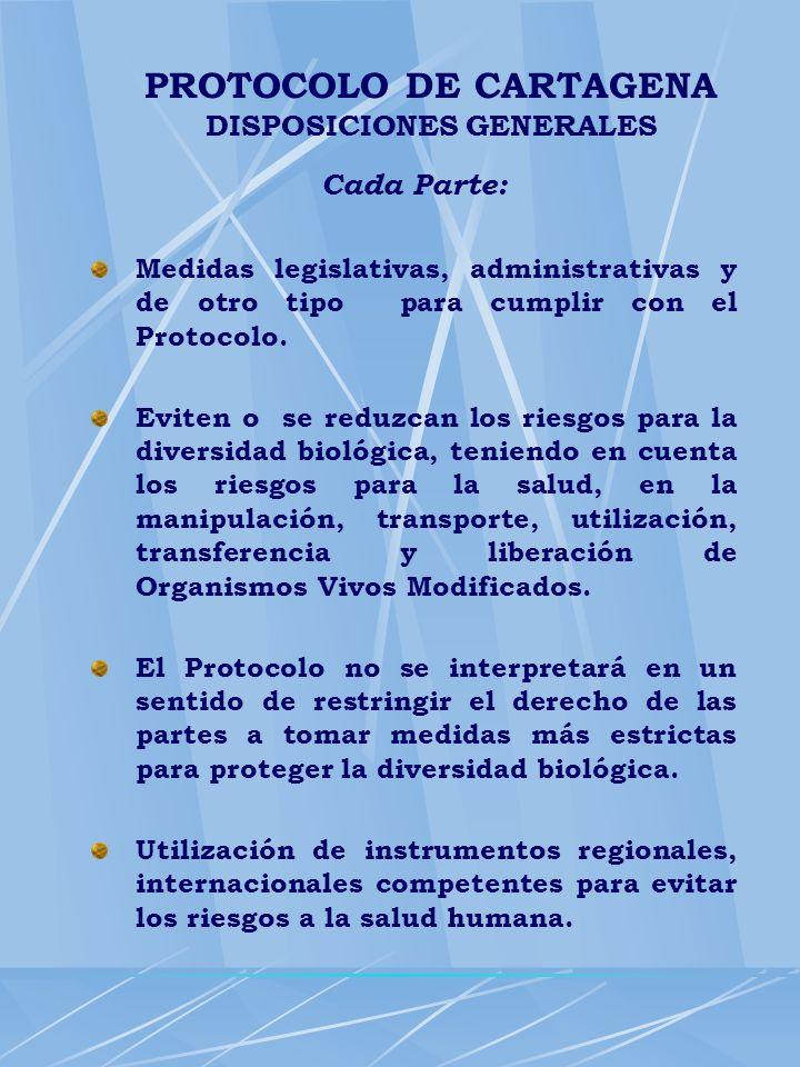 Cada Parte: Medidas legislativas, administrativas y de otro tipo para cumplir con el Protocolo. Eviten o se reduzcan los riesgos para la diversidad bi