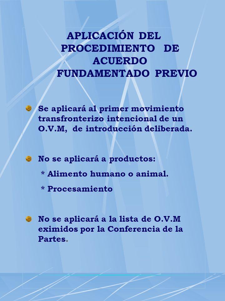 APLICACIÓN DEL PROCEDIMIENTO DE ACUERDO FUNDAMENTADO PREVIO Se aplicará al primer movimiento transfronterizo intencional de un O.V.M, de introducción