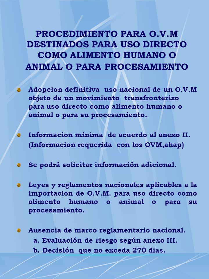 Adopcion definitiva uso nacional de un O.V.M objeto de un movimiento transfronterizo para uso directo como alimento humano o animal o para su procesam