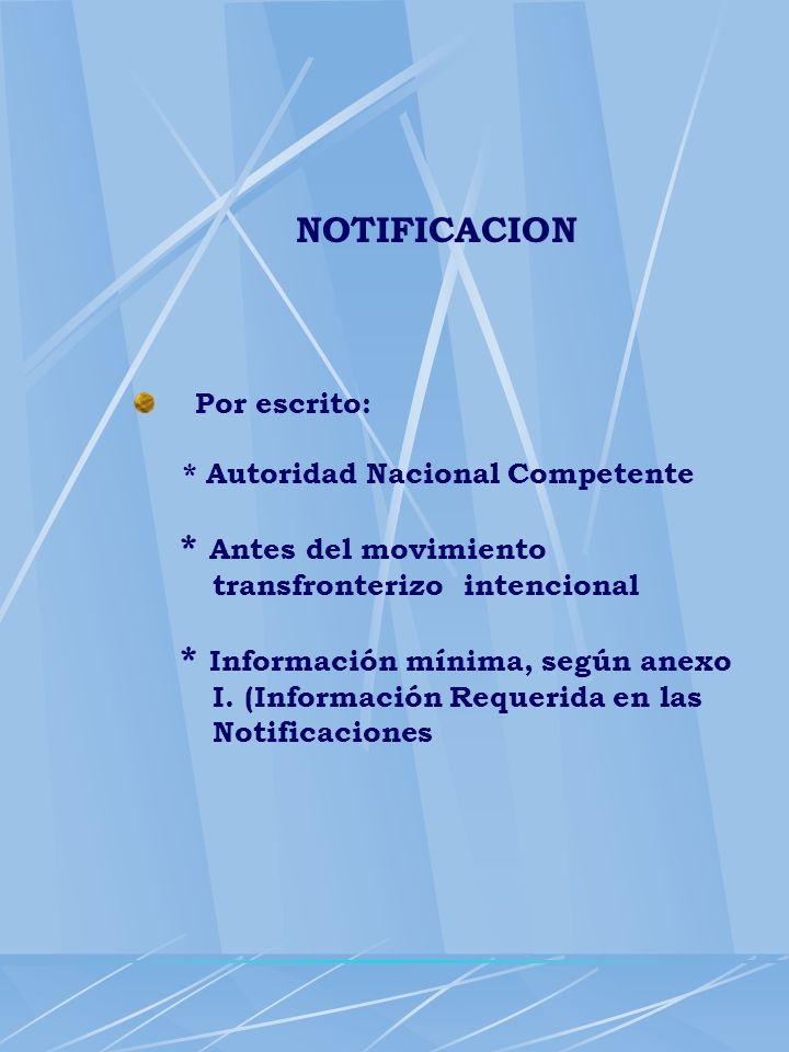 NOTIFICACION Por escrito: * Autoridad Nacional Competente * Antes del movimiento transfronterizo intencional * Información mínima, según anexo I. (Inf