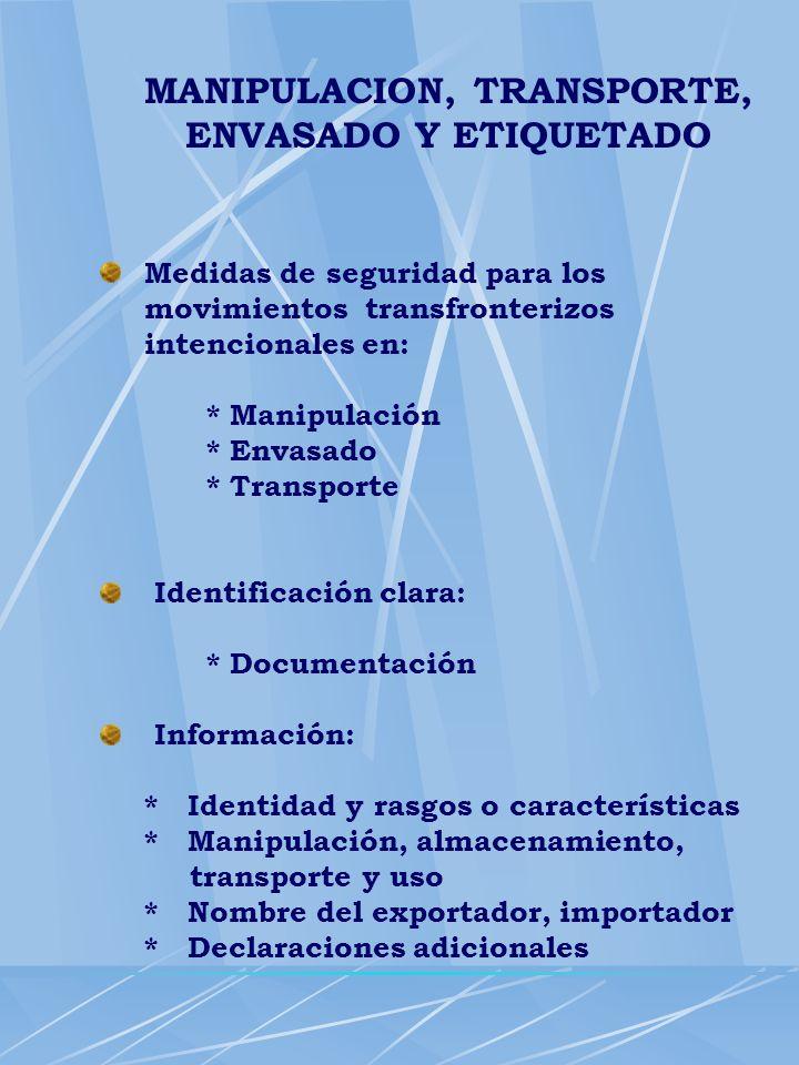 MANIPULACION, TRANSPORTE, ENVASADO Y ETIQUETADO Medidas de seguridad para los movimientos transfronterizos intencionales en: * Manipulación * Envasado