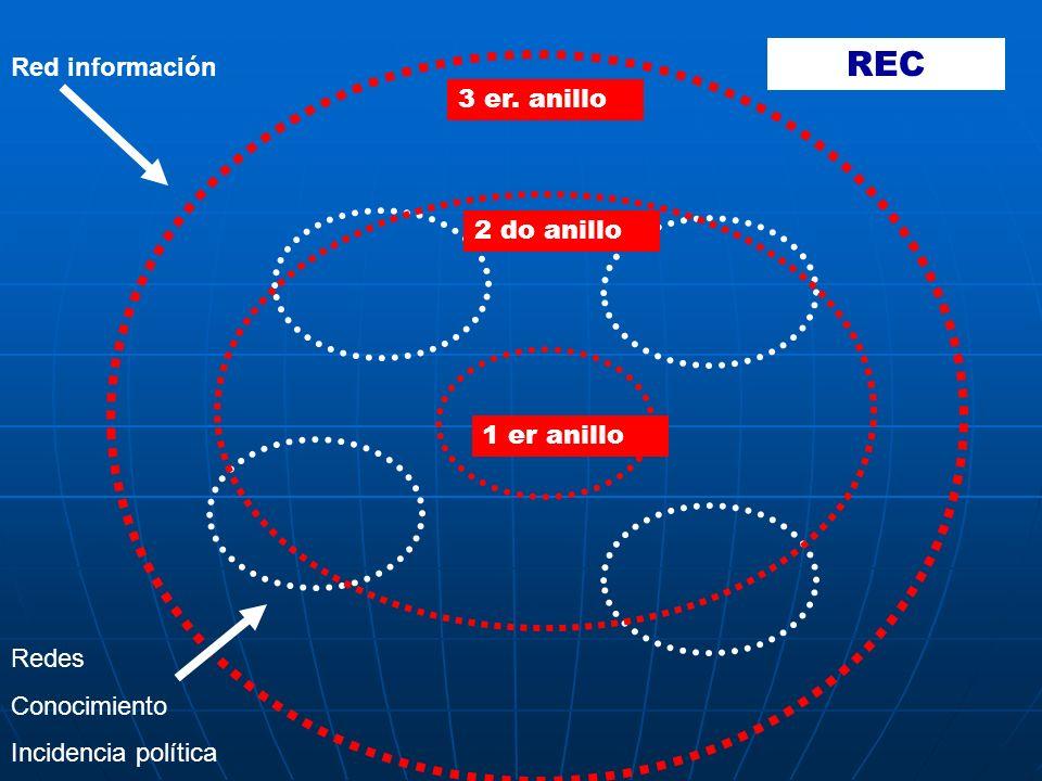 Red información Redes Conocimiento Incidencia política 1 er anillo 2 do anillo 3 er. anillo REC