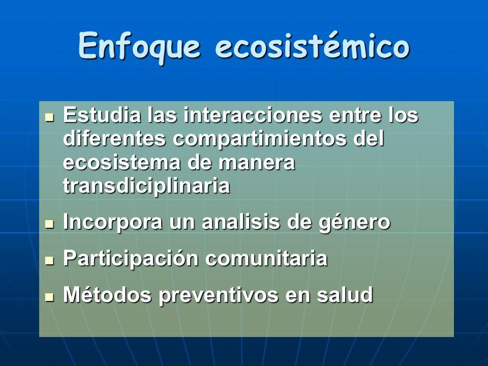 Enfoque ecosistémico Estudia las interacciones entre los diferentes compartimientos del ecosistema de manera transdiciplinaria Estudia las interaccion