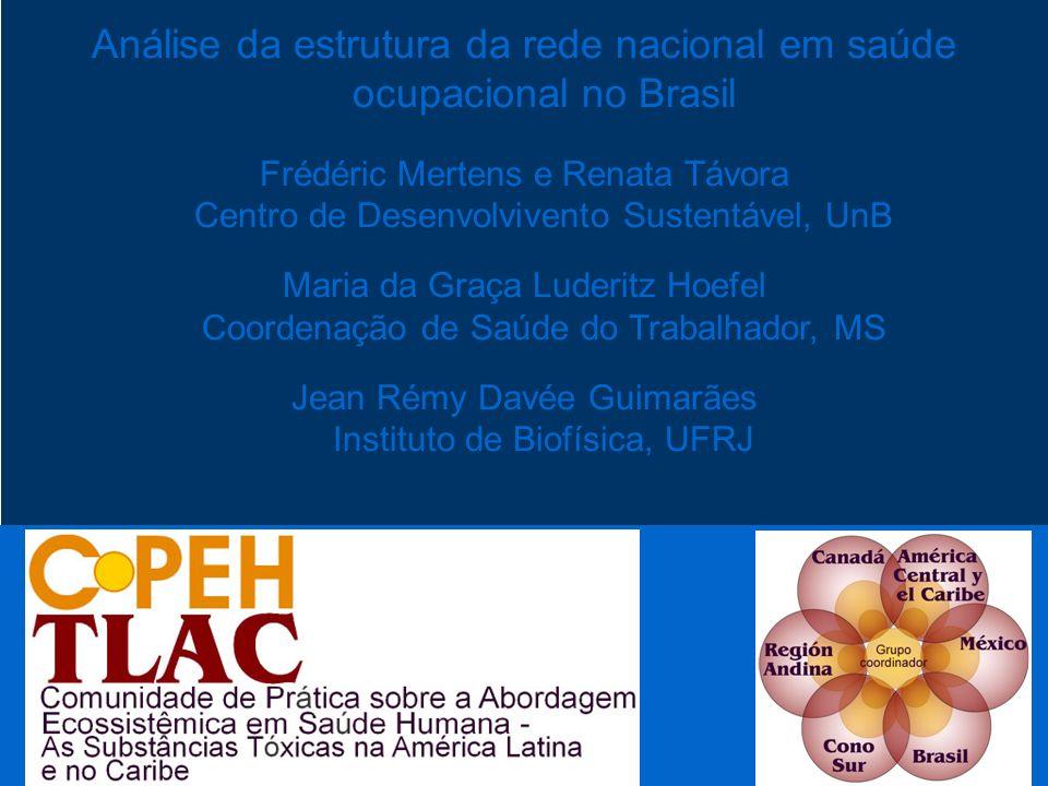 Análise da estrutura da rede nacional em saúde ocupacional no Brasil Frédéric Mertens e Renata Távora Centro de Desenvolvivento Sustentável, UnB Maria
