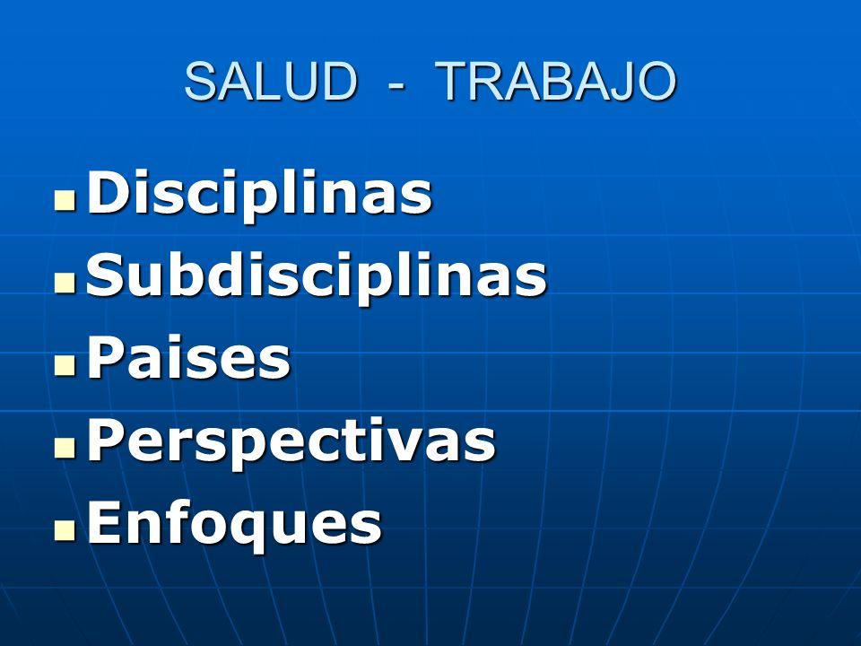 SALUD - TRABAJO Disciplinas Disciplinas Subdisciplinas Subdisciplinas Paises Paises Perspectivas Perspectivas Enfoques Enfoques