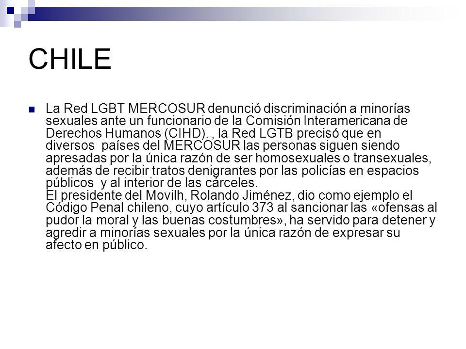 CHILE La Red LGBT MERCOSUR denunció discriminación a minorías sexuales ante un funcionario de la Comisión Interamericana de Derechos Humanos (CIHD).,