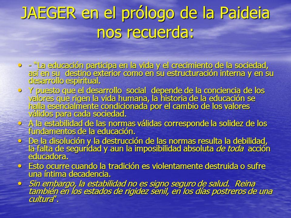 JAEGER en el prólogo de la Paideia nos recuerda: - La educación participa en la vida y el crecimiento de la sociedad, así en su destino exterior como