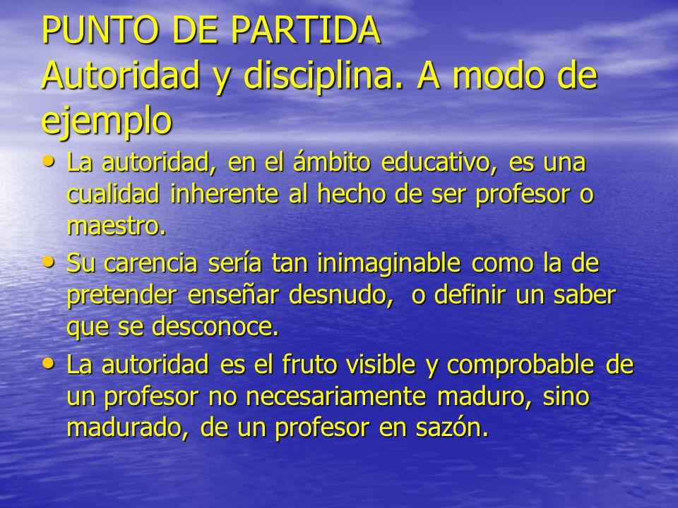 PUNTO DE PARTIDA Autoridad y disciplina. A modo de ejemplo La autoridad, en el ámbito educativo, es una cualidad inherente al hecho de ser profesor o