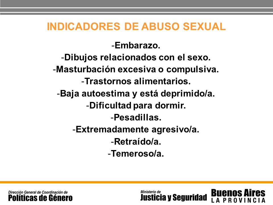 INDICADORES DE ABUSO SEXUAL -Embarazo. -Dibujos relacionados con el sexo. -Masturbación excesiva o compulsiva. -Trastornos alimentarios. -Baja autoest