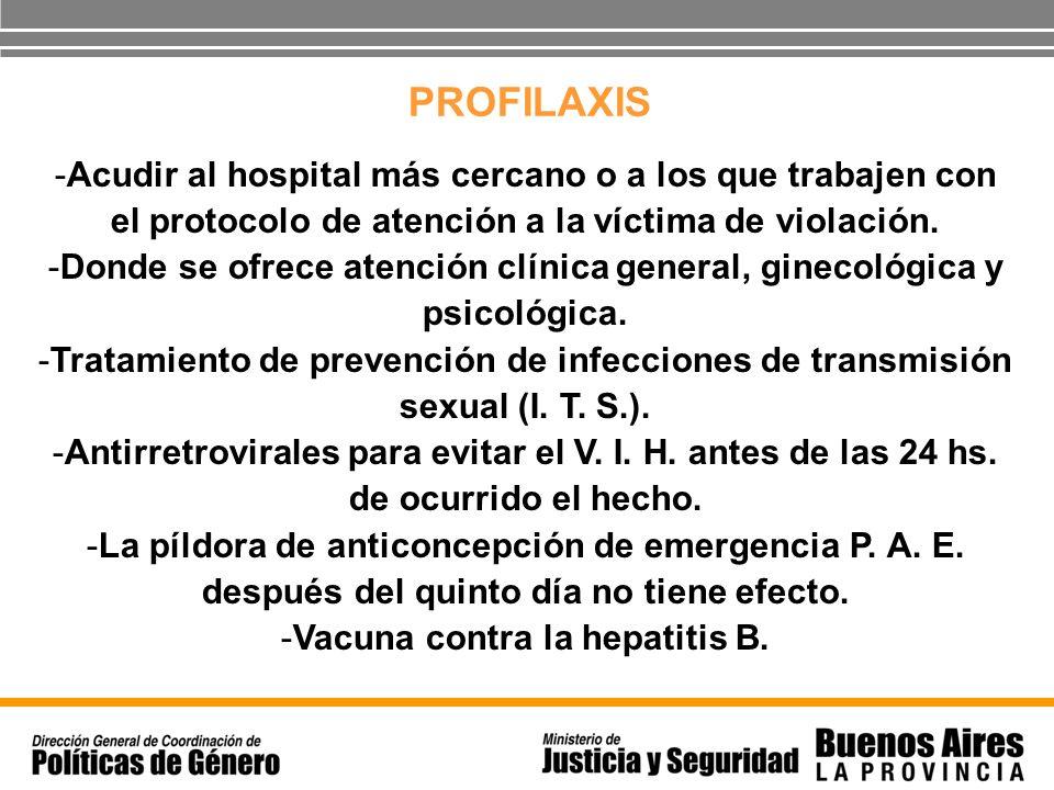PROFILAXIS -Acudir al hospital más cercano o a los que trabajen con el protocolo de atención a la víctima de violación. -Donde se ofrece atención clín