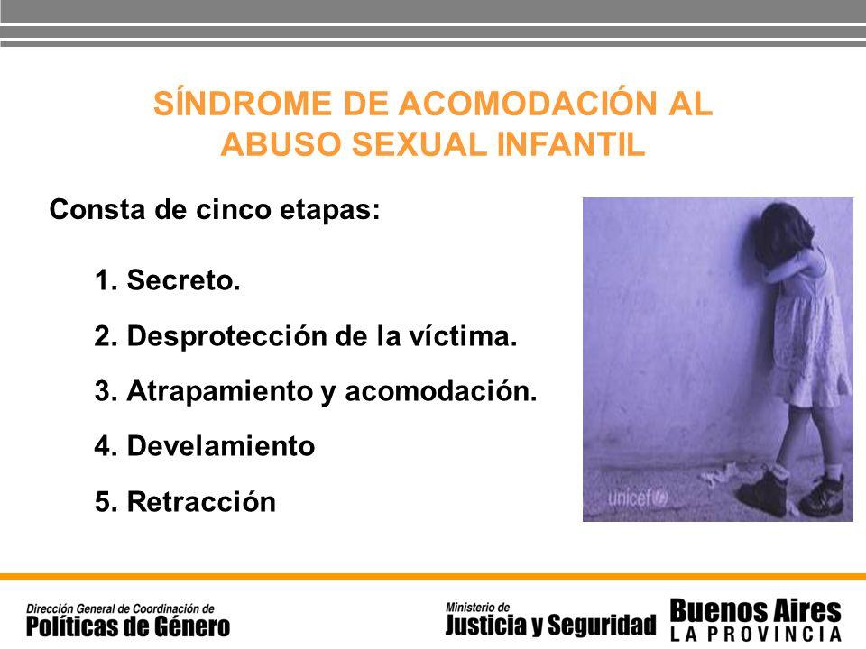 SÍNDROME DE ACOMODACIÓN AL ABUSO SEXUAL INFANTIL 1.Secreto. 2.Desprotección de la víctima. 3.Atrapamiento y acomodación. 4.Develamiento 5.Retracción C