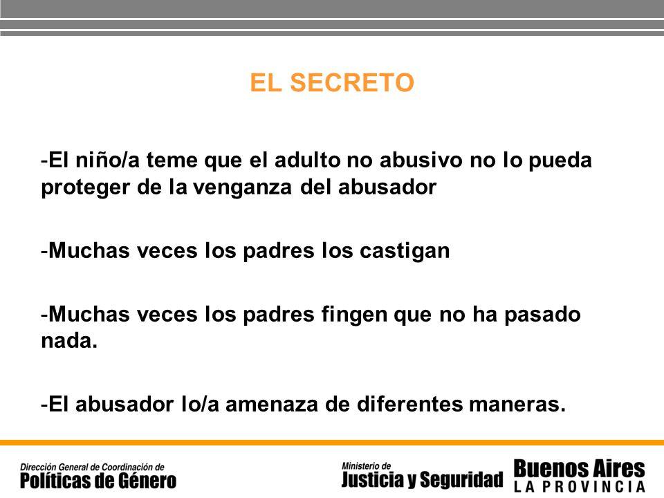 EL SECRETO -El niño/a teme que el adulto no abusivo no lo pueda proteger de la venganza del abusador -Muchas veces los padres los castigan -Muchas vec