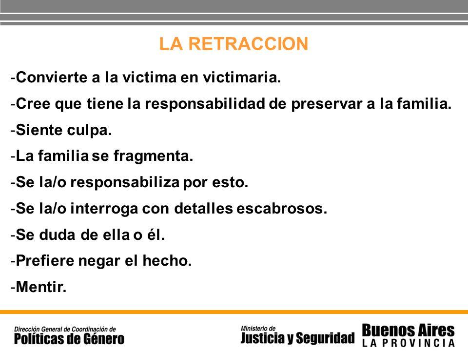 LA RETRACCION -Convierte a la victima en victimaria. -Cree que tiene la responsabilidad de preservar a la familia. -Siente culpa. -La familia se fragm
