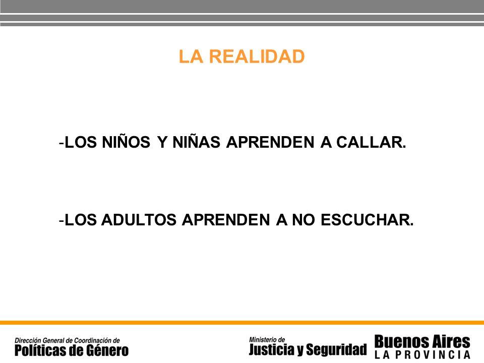 LA REALIDAD -LOS NIÑOS Y NIÑAS APRENDEN A CALLAR. -LOS ADULTOS APRENDEN A NO ESCUCHAR.