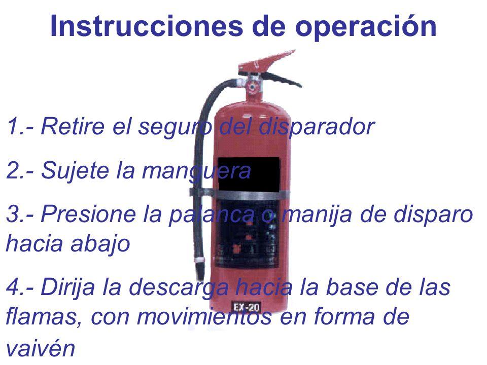 Instrucciones de operación 1.- Retire el seguro del disparador 2.- Sujete la manguera 3.- Presione la palanca o manija de disparo hacia abajo 4.- Diri