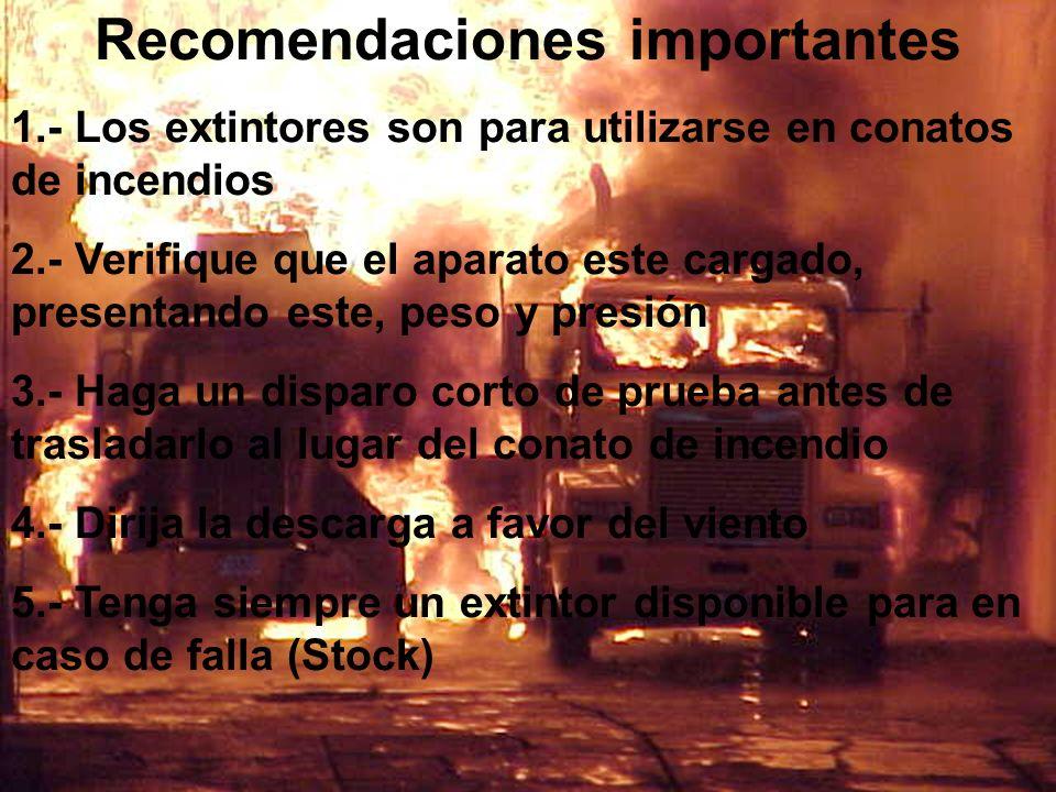 Recomendaciones importantes 1.- Los extintores son para utilizarse en conatos de incendios 2.- Verifique que el aparato este cargado, presentando este