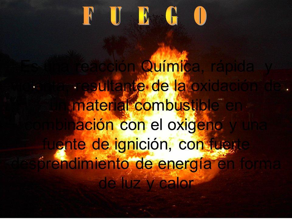 Es una reacción Química, rápida y violenta, resultante de la oxidación de un material combustible en combinación con el oxigeno y una fuente de ignici