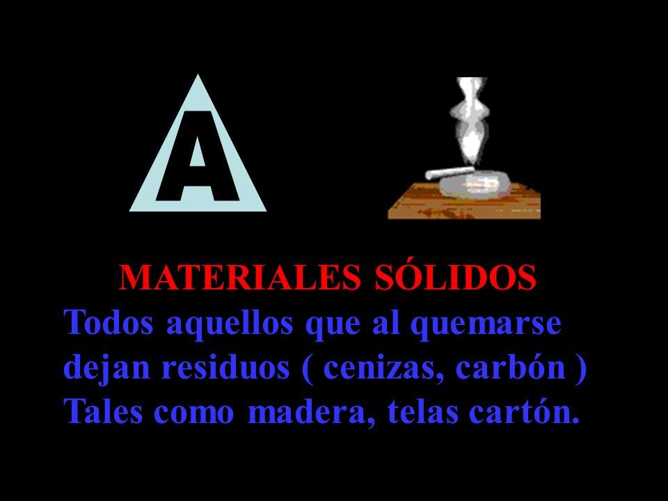MATERIALES SÓLIDOS Todos aquellos que al quemarse dejan residuos ( cenizas, carbón ) Tales como madera, telas cartón.