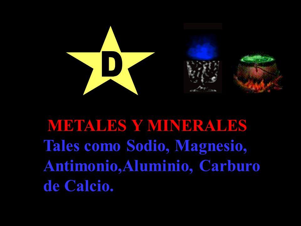 METALES Y MINERALES Tales como Sodio, Magnesio, Antimonio,Aluminio, Carburo de Calcio.