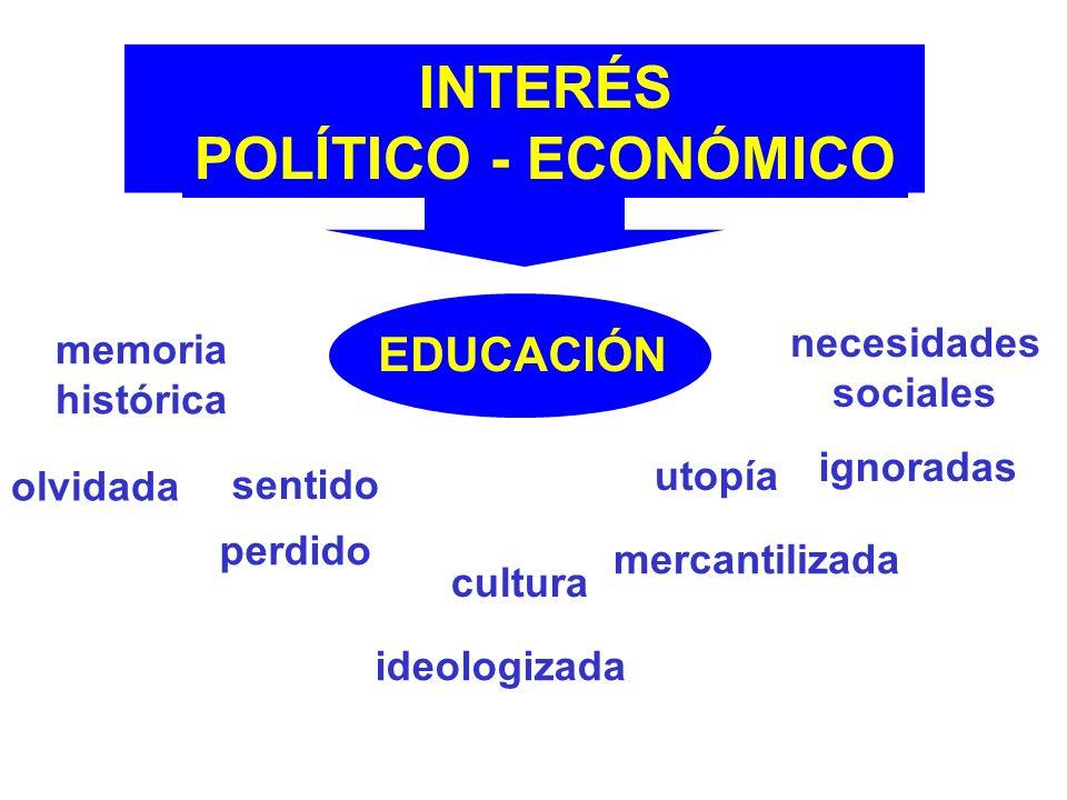 INTERÉS POLÍTICO - ECONÓMICO EDUCACIÓN memoria histórica olvidada sentido perdido cultura ideologizada utopía mercantilizada necesidades sociales ignoradas