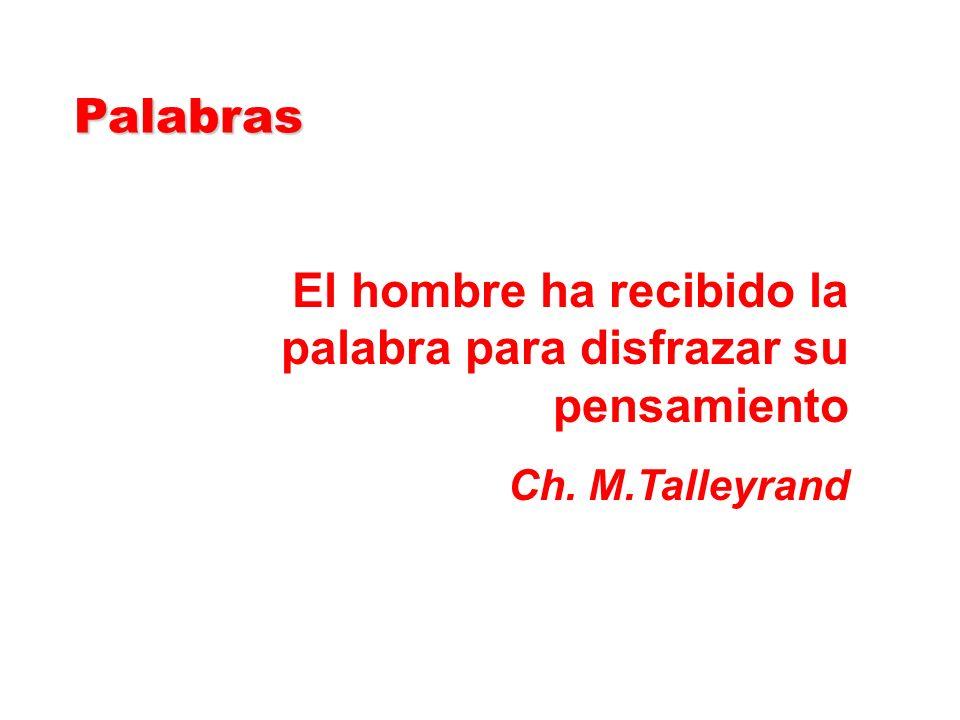 El hombre ha recibido la palabra para disfrazar su pensamiento Ch. M.Talleyrand Palabras Palabras