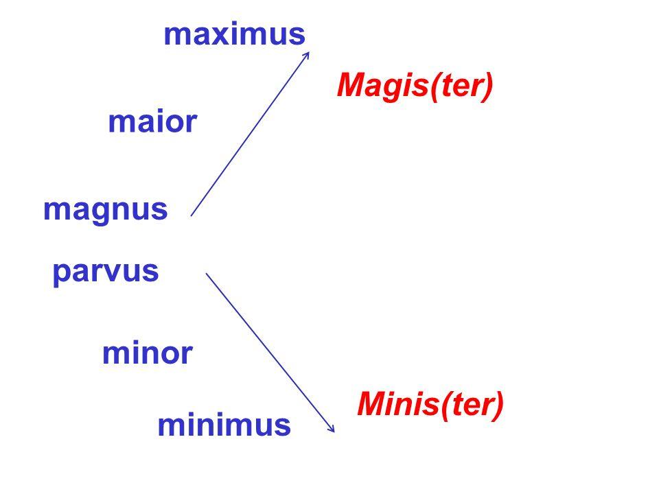 magnus maior maximus parvus minor minimus Magis(ter) Minis(ter)