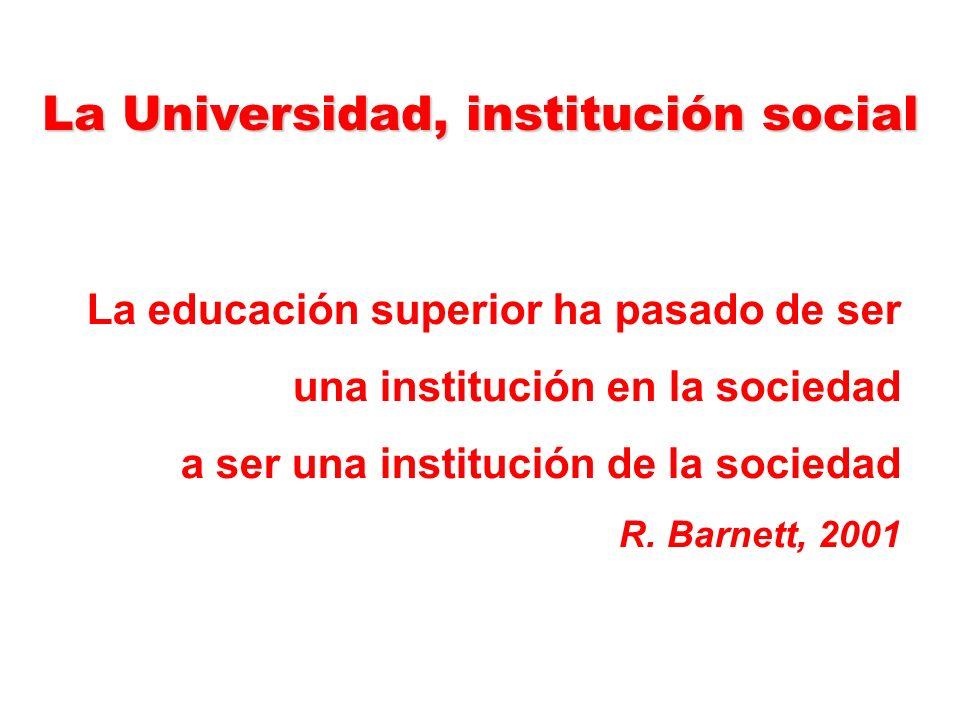 La Universidad, institución social La educación superior ha pasado de ser una institución en la sociedad a ser una institución de la sociedad R.