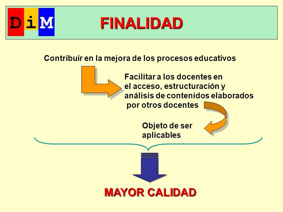 FINALIDAD Contribuir en la mejora de los procesos educativos Facilitar a los docentes en el acceso, estructuración y análisis de contenidos elaborados por otros docentes Objeto de ser aplicables MAYOR CALIDAD