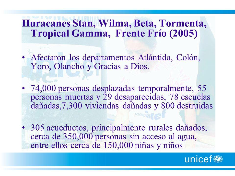 Huracanes Stan, Wilma, Beta, Tormenta, Tropical Gamma, Frente Frío (2005) Afectaron los departamentos Atlántida, Colón, Yoro, Olancho y Gracias a Dios