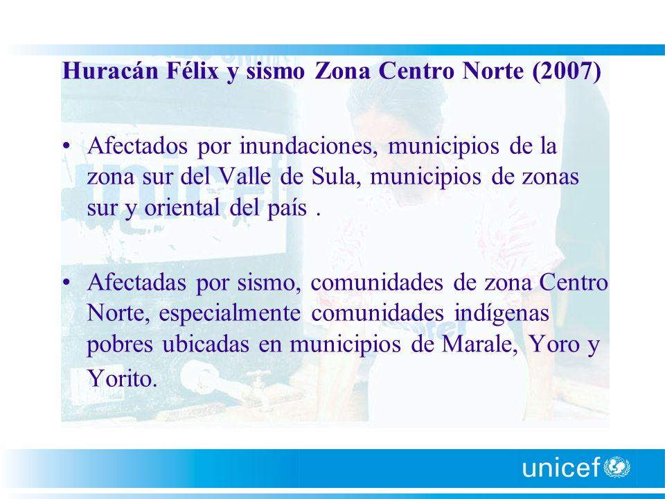 Huracán Félix y sismo Zona Centro Norte (2007) Afectados por inundaciones, municipios de la zona sur del Valle de Sula, municipios de zonas sur y orie