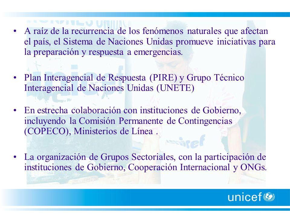 La mesa sectorial de agua y saneamiento es liderada por UNICEF, con participación de OPS/OMS, OIM y la oficina de Coordinación del Sistema de NNUU.