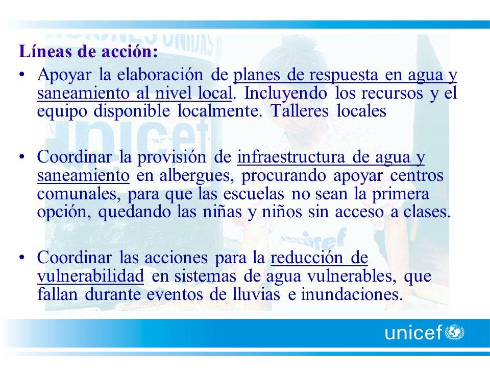 Líneas de acción: Apoyar la elaboración de planes de respuesta en agua y saneamiento al nivel local. Incluyendo los recursos y el equipo disponible lo