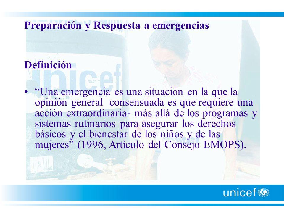 Preparación y Respuesta a emergencias Definición Una emergencia es una situación en la que la opinión general consensuada es que requiere una acción e