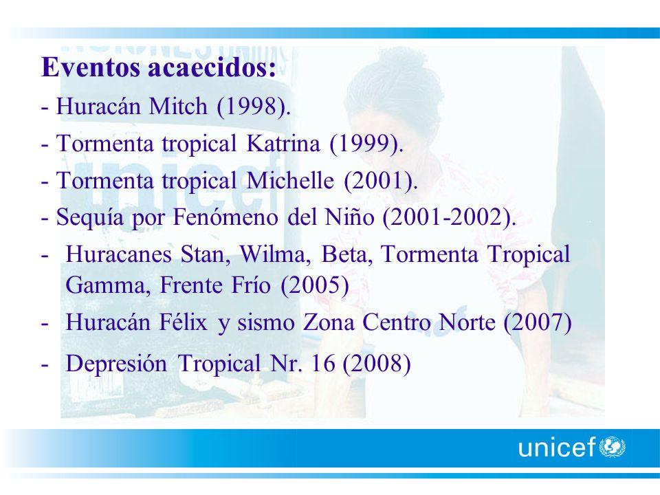 Eventos acaecidos: - Huracán Mitch (1998). - Tormenta tropical Katrina (1999). - Tormenta tropical Michelle (2001). - Sequía por Fenómeno del Niño (20
