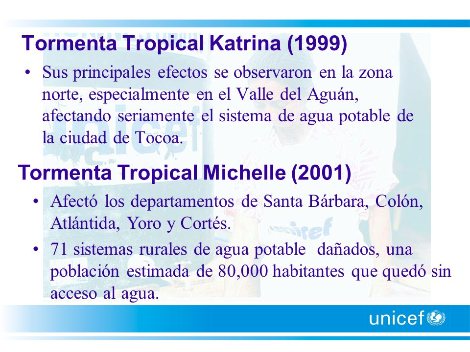 Huracanes Stan, Wilma, Beta, Tormenta, Tropical Gamma, Frente Frío (2005) Afectaron los departamentos Atlántida, Colón, Yoro, Olancho y Gracias a Dios.
