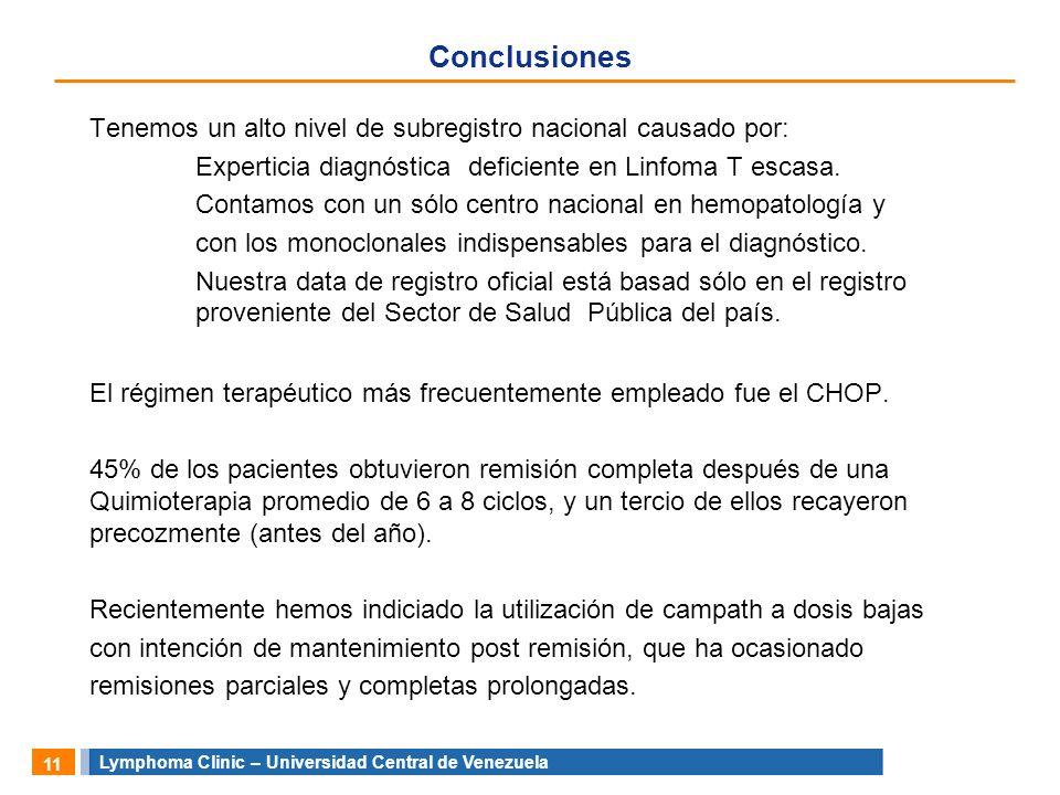 Lymphoma Clinic – Universidad Central de Venezuela 11 Conclusiones Tenemos un alto nivel de subregistro nacional causado por: Experticia diagnóstica d