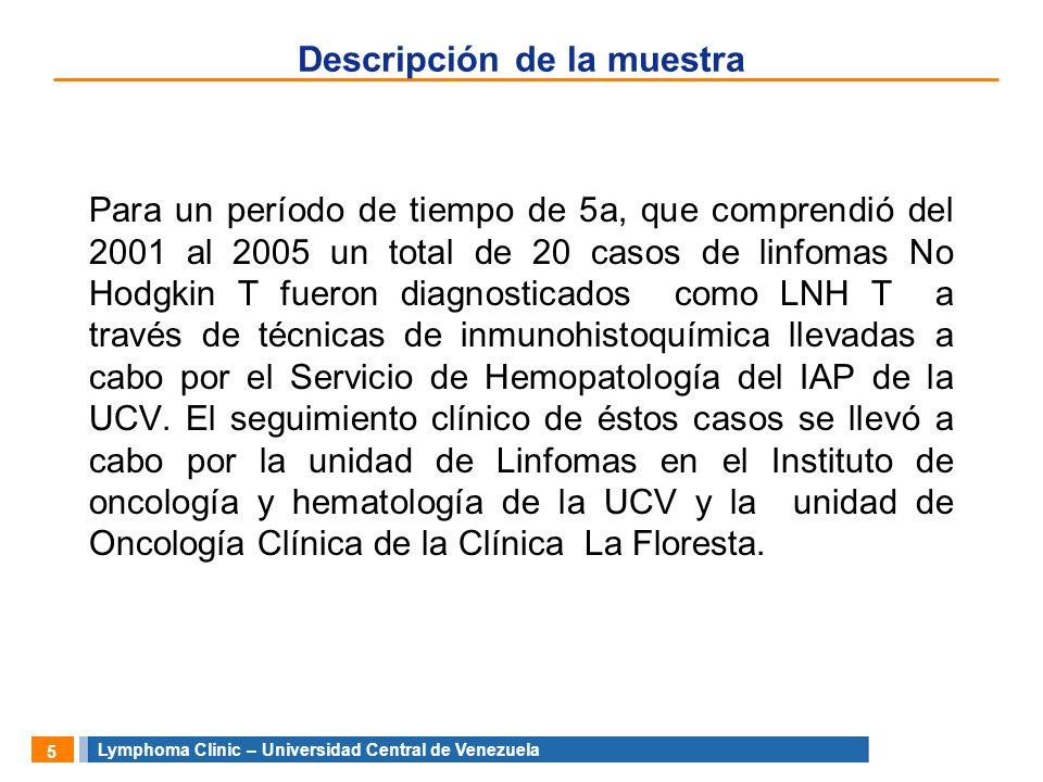 Lymphoma Clinic – Universidad Central de Venezuela 6 Diagnostico Todos tuvieron una revisión central por el departamento de hematopatología del Instituto de Anatomía patológica de la UCV con un panel mínimo de CD45, CD45Ro, CD3, y gracias a la colaboración de la fundación BADAN se incluyó para efectos de este trabajo los anticuerpos específicos de T, CD4 y CD8 PANEL BÁSICO PARA EL DIAGNÓSTICO HEMATOPATOLÓGICO