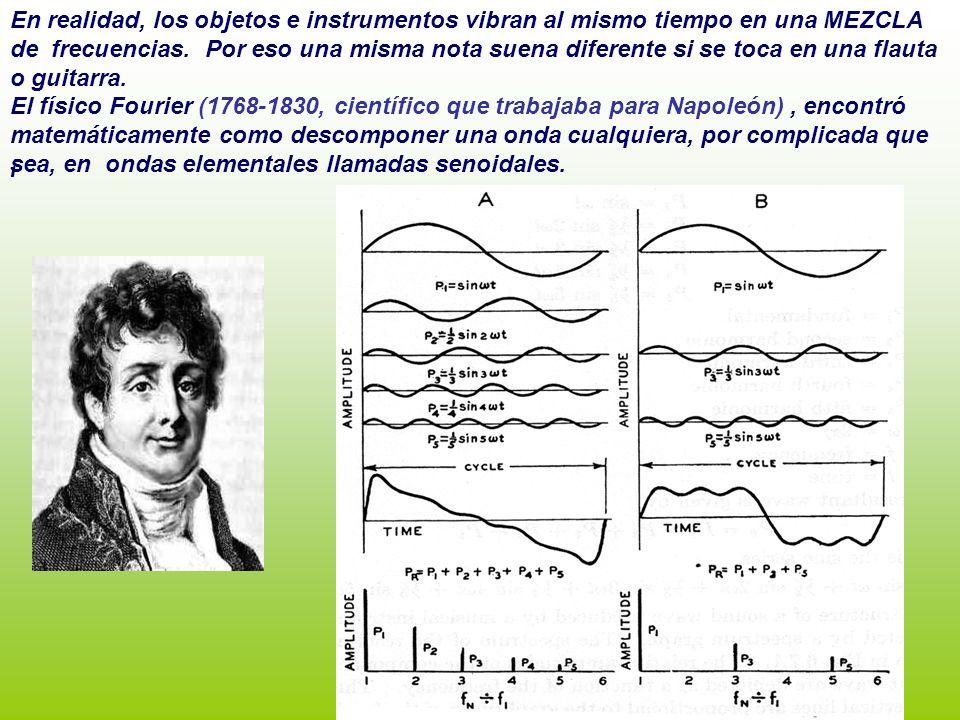 En realidad, los objetos e instrumentos vibran al mismo tiempo en una MEZCLA de frecuencias. Por eso una misma nota suena diferente si se toca en una