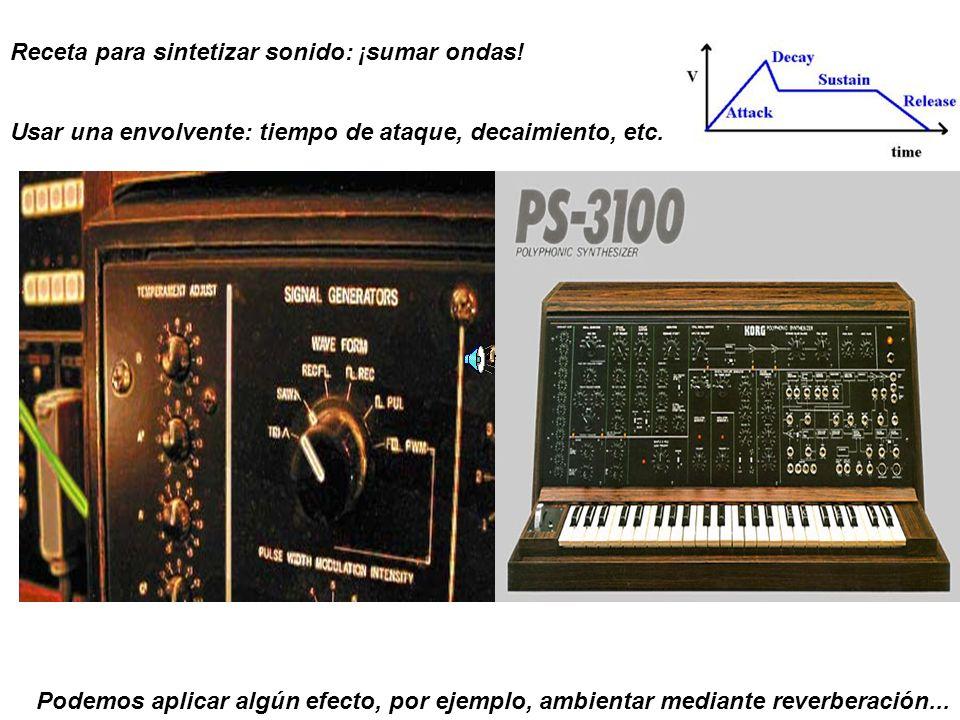 Receta para sintetizar sonido: ¡sumar ondas! Usar una envolvente: tiempo de ataque, decaimiento, etc. Podemos aplicar algún efecto, por ejemplo, ambie