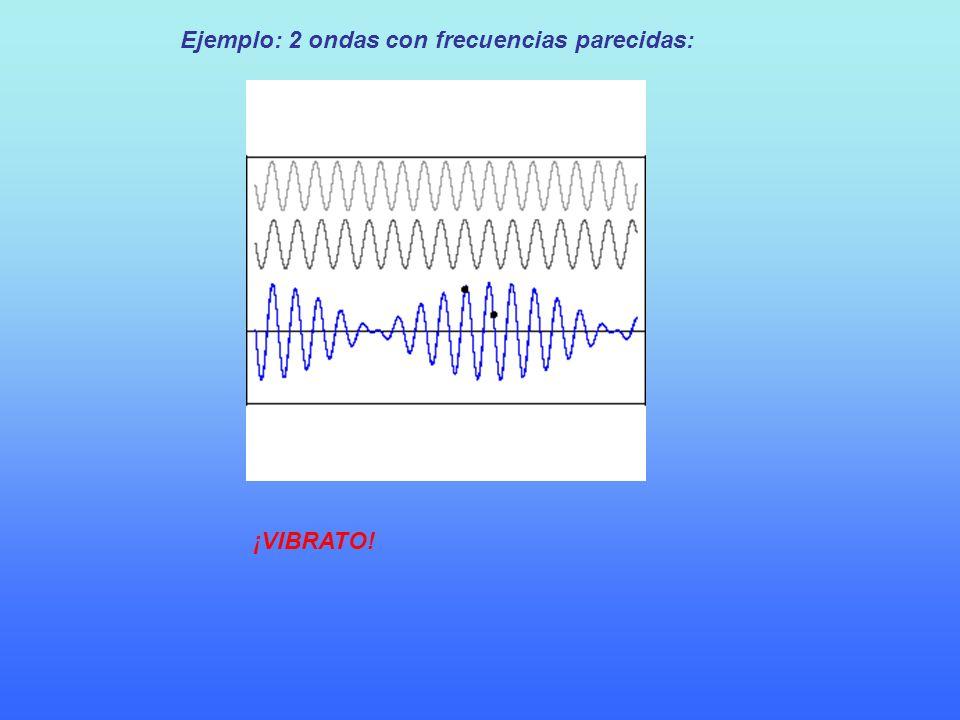 Ejemplo: 2 ondas con frecuencias parecidas: ¡VIBRATO!