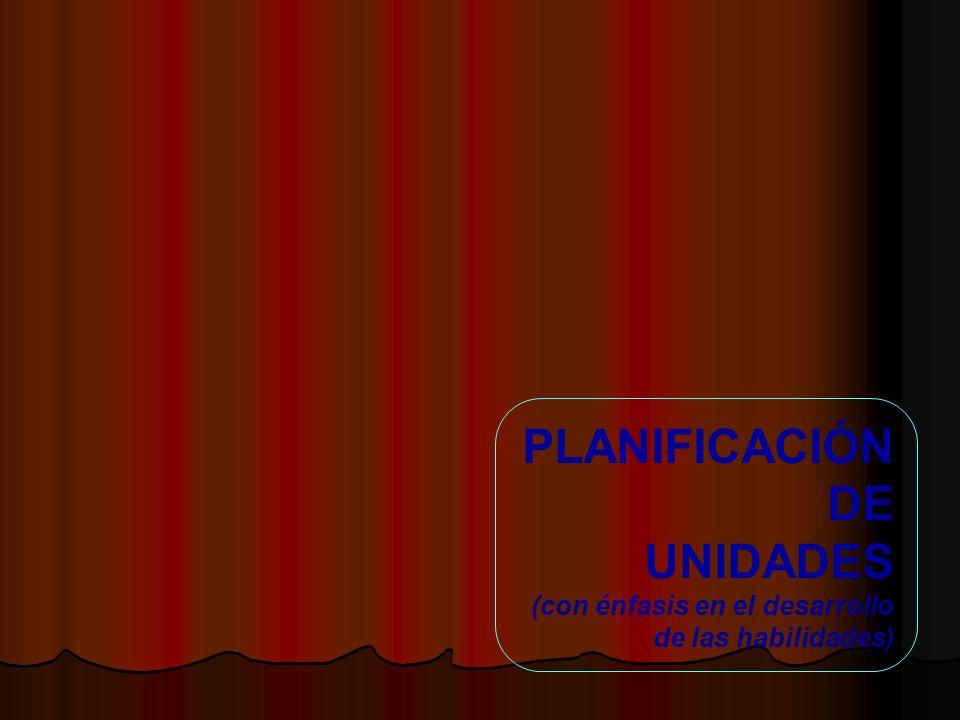 PLANIFICACIÓN DE UNIDADES (con énfasis en el desarrollo de las habilidades)