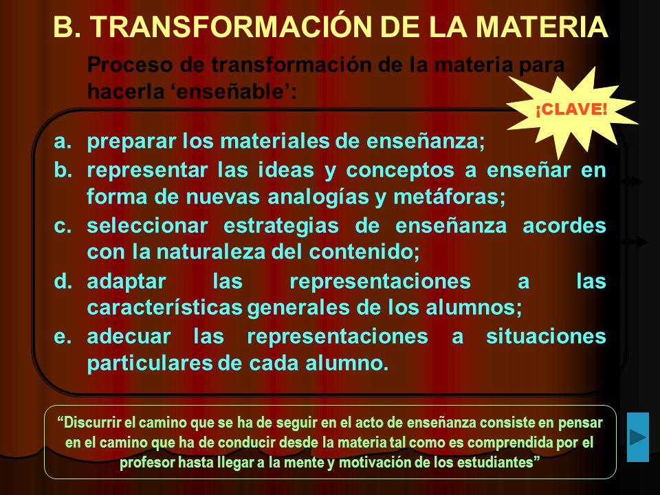 B. TRANSFORMACIÓN DE LA MATERIA a.preparar los materiales de enseñanza; b.representar las ideas y conceptos a enseñar en forma de nuevas analogías y m