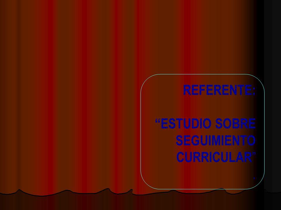 REFERENTE: ESTUDIO SOBRE SEGUIMIENTO CURRICULAR.