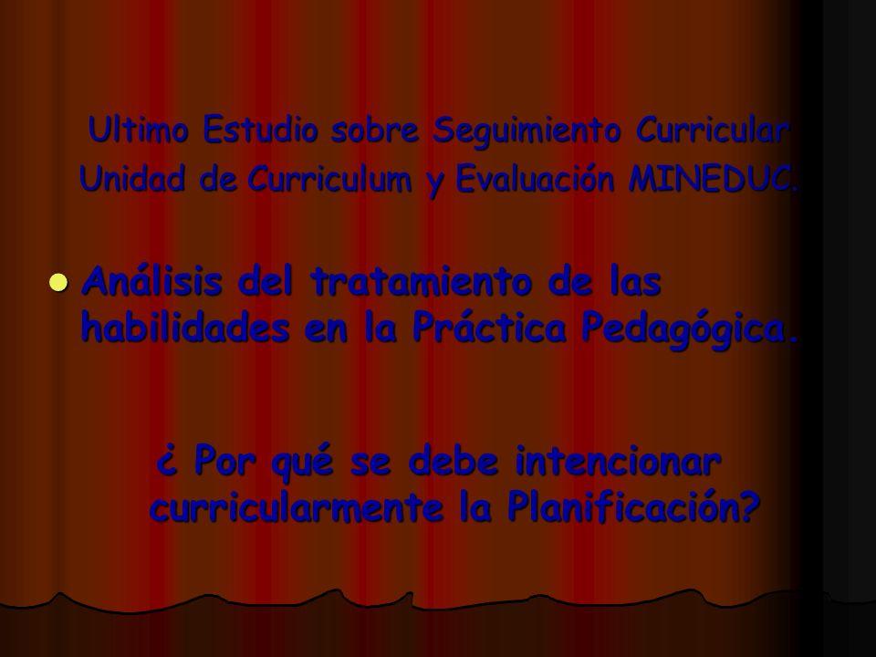Ultimo Estudio sobre Seguimiento Curricular Unidad de Curriculum y Evaluación MINEDUC. Análisis del tratamiento de las habilidades en la Práctica Peda