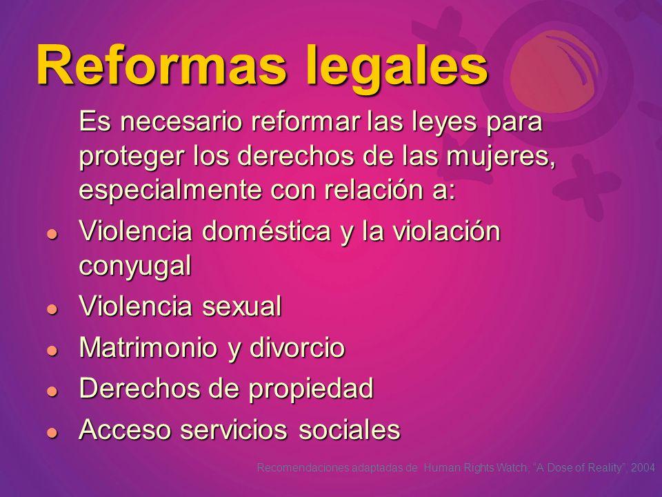 Es necesario reformar las leyes para proteger los derechos de las mujeres, especialmente con relación a: Violencia doméstica y la violación conyugal V